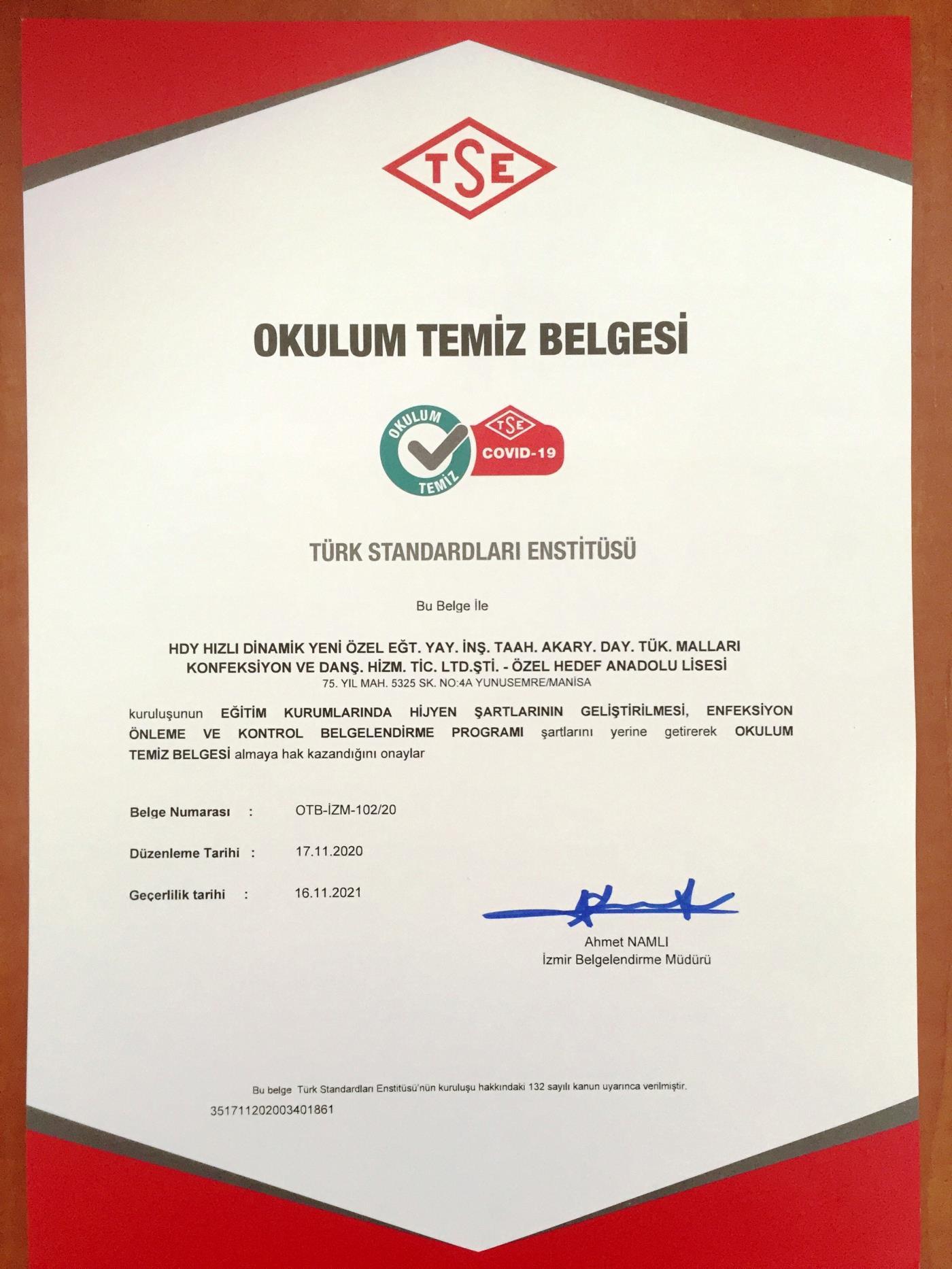 'OKULUM TEMİZ BELGESİ' ALDIK